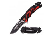 Firefighter folding rescue knife